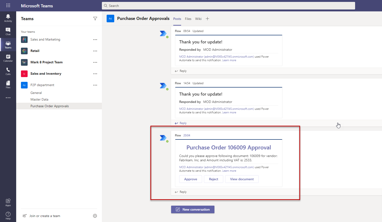 How to use MS Teams for Dynamics 365 Business Central approval